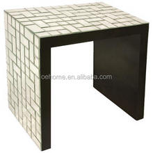 Mosaic geometric mirrored tile accent table