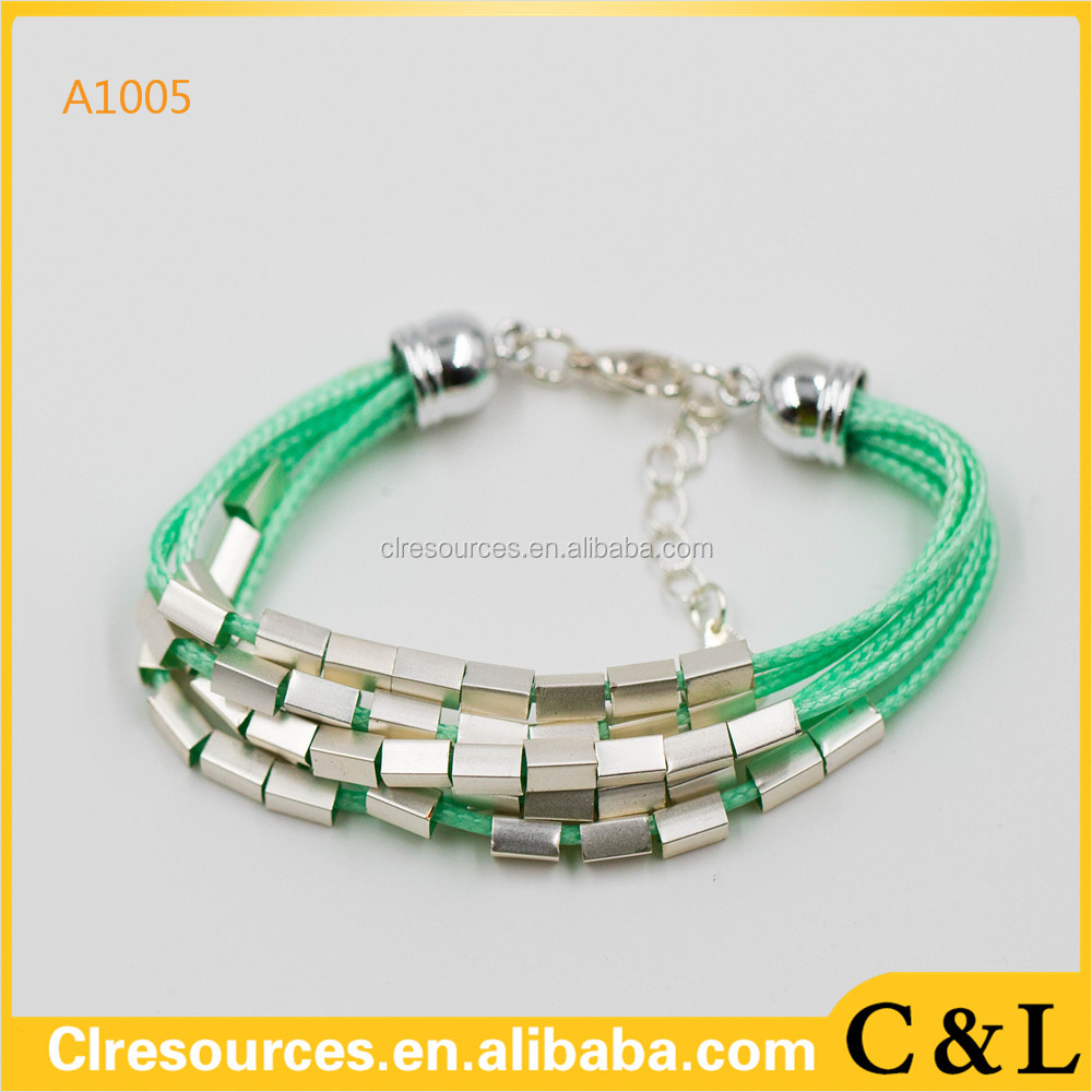 2016 latest fashion 925 silver bracelet green litz wire bracelet