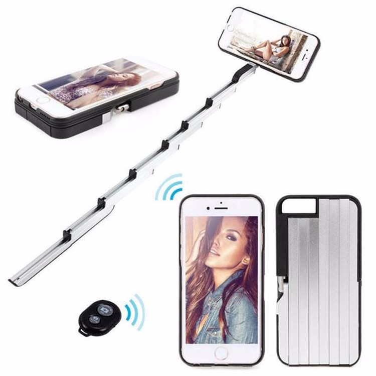 3 in 1 Aluminum Selfie Stick Case for IOS and Andriod phone With Phone Holder Back Cover Coque a Fundas Para Celuar StickBox
