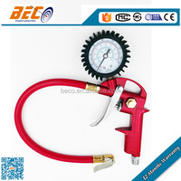 YG-01 Factory supplied chrome plated friction ring chuck tire air inflator gun with pressure gauge