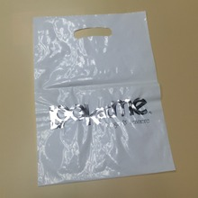 Hot selling cheap ldpe transparent clear plastic die cut patch handle shopping bags