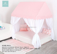 Pink and white fabric kids playhouse child bed tent