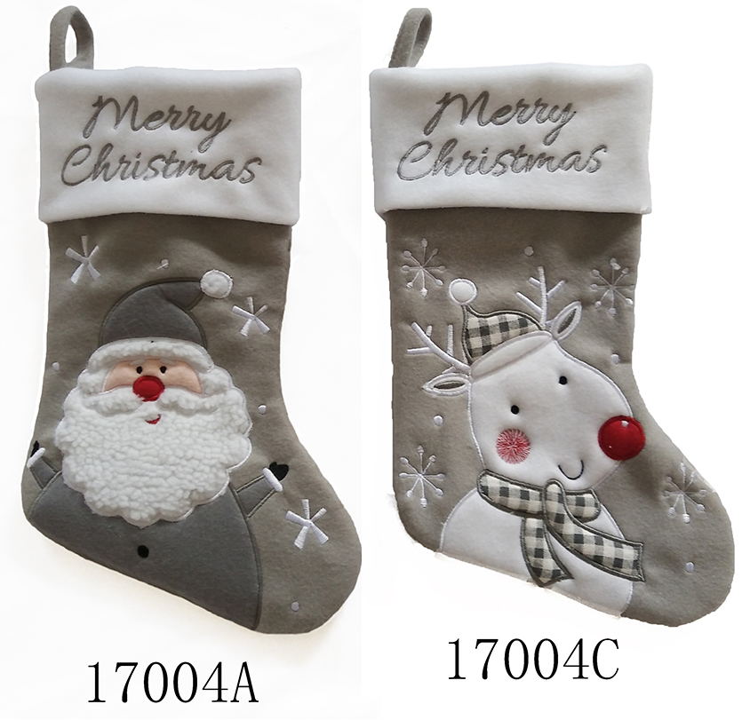 Decorated big size white grey classical stype plain christmas stocking for kids