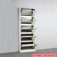 Melamine chipboard shoe rack with mirror