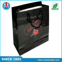 Fugang Factory Wholesale Custom Size Black Laminated Paper Carry Bags