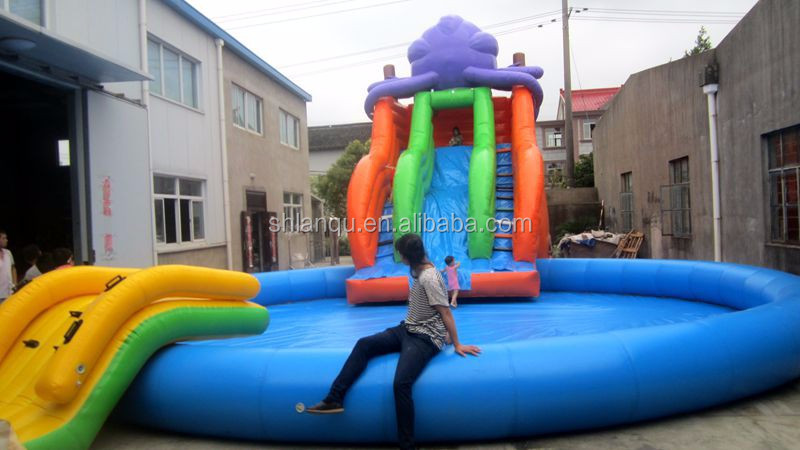 Lanqu Inflatable Water Park Pool Aqua Park for Kids