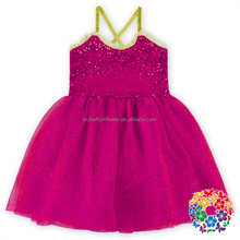Hot Pink Girls One Piece Sparkle Dress Blush Flower Girl Princess Party Dress