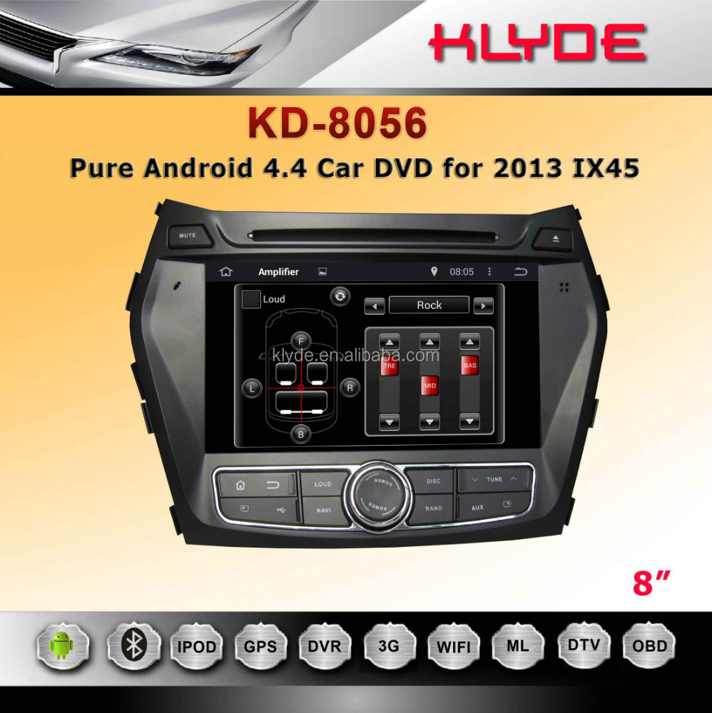 klyde android 4.4.2 santa fe 2013-2014 navigation system wifi 3g bluetooth DVB-T IPOD/IPHONE
