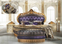 Royal Luxury Italian Purple and Gold Tufted Round Bed BF11-01161b