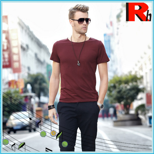 Plain round neck new model men's t-shirt production