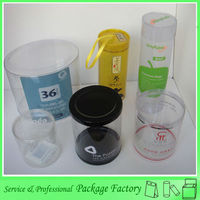 Newest PVC cheap cylinder clear plastic retail packaging