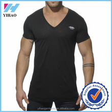Yihao mens v-neck muscle tee custom clothing labels cheap t-shirt gym deep v-neck mens work out t-shirt black wholesale t-shirt
