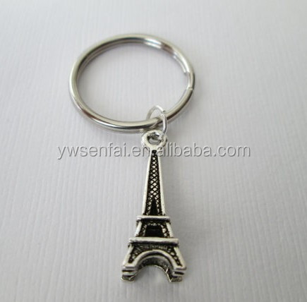 High quality new item metal paris eiffel tower keychain