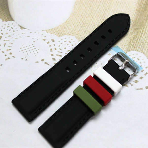 Pure silicone 2 pieces loop 20mm silicone rubber watch strap