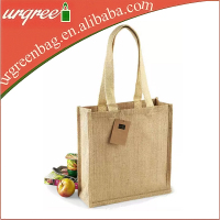 Serviceable Hessian Hemp Shopping Tote Bag With Cotton Webbing Handle