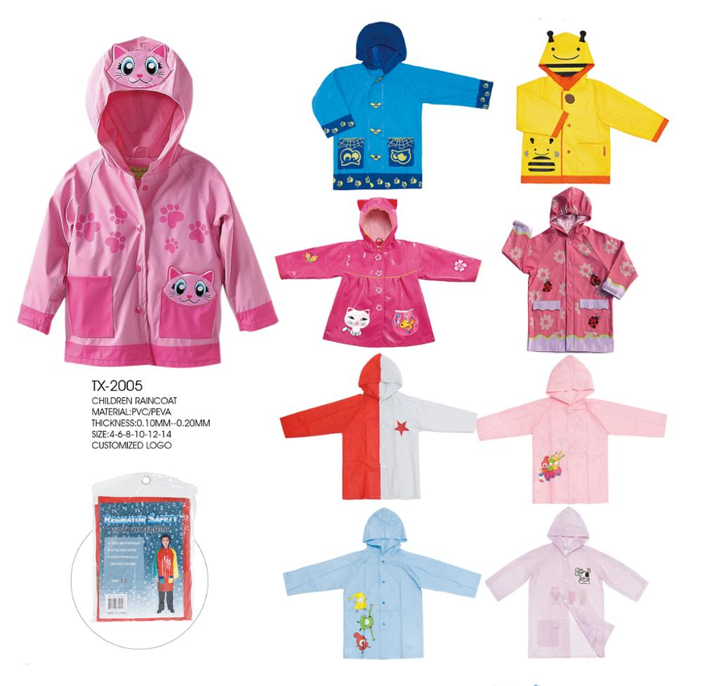 PVC CHILDREN RAINCOAT/RAIN PONCHO WITH ANIMAL PATTERNS