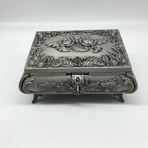 Vintage Fancy Silver Metal Jewelry Box with Velvet Lining