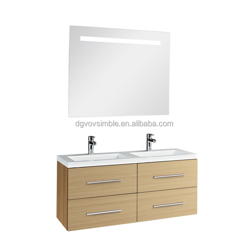 With LED Light High Gloss White Hanging 4mm Bathroom Mirror Vanity