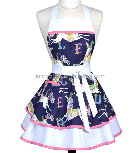 Navy White Horses on Carousel Womans Cute Kitchen Beauty Apron