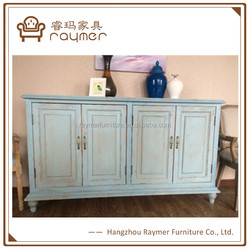 Floral Painted Console Table/ Storage Cabinet, Elegant Home Decorative Wooden Furniture