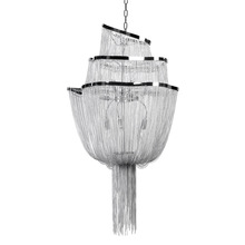 UL classic modern round Silver flower E26 tassel Chrome ceiling lamp for Home