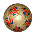 Special gold color with colorful printing training TPU hand sewed soccer ball