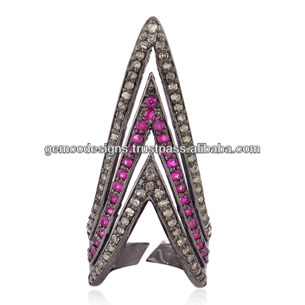 pave diamond ruby gemstone nail ring, triangle shaped precious stone silver nail rings handmade wholesale jewelry