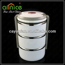 3 tiers portable stainless steel lunch tiffin box/lunch container/stackable lunch box