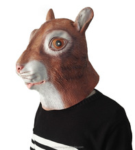 Halloween Fancy Dress rubber animal full face cute latex fetish gray Squirrel head mask