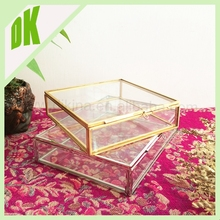 Vintage Collectible Base Metal Trinket Jewelry Box office film decor - jewelry storage~ glass 12x12 decorative photo storage box