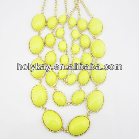 2013 latest fashion jewelry new design 3 strand handmade acrylic beads necklace for women