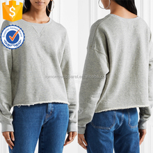 Light Gray Frayed French Cotton Terry Sweatshirt OEM/ODM Manufacture Wholesale Fashion Women Apparel (TA7030H)