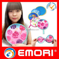 Eco - friendly promotional reusable outdoor game round nylon folding fan with pouch