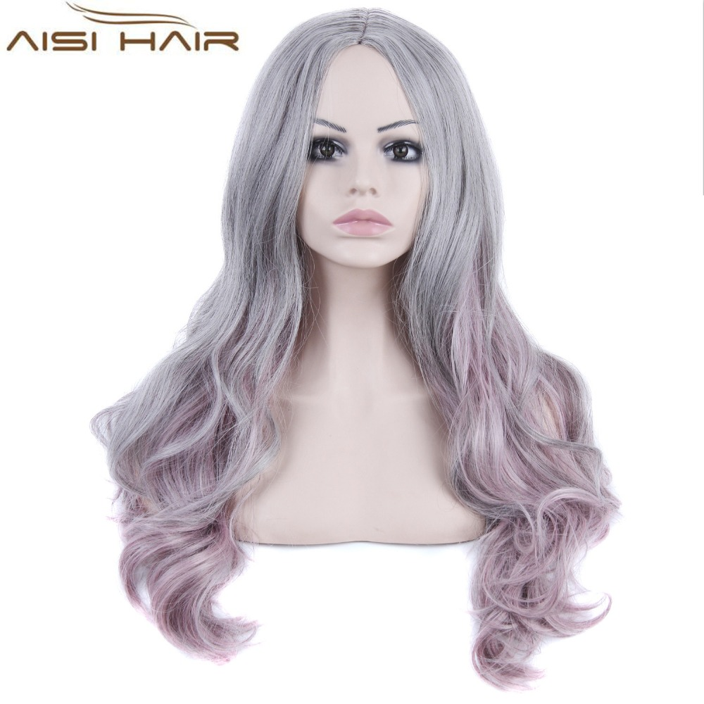 Fahion Style Ombre Grey and Pink Color Long Regular Wave Synthetic Hair Wigs for Women