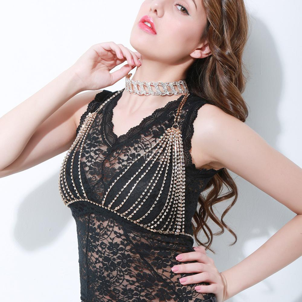 Fashion Rhinestone Body Jewelry Bra Wholesale NSKH-0003
