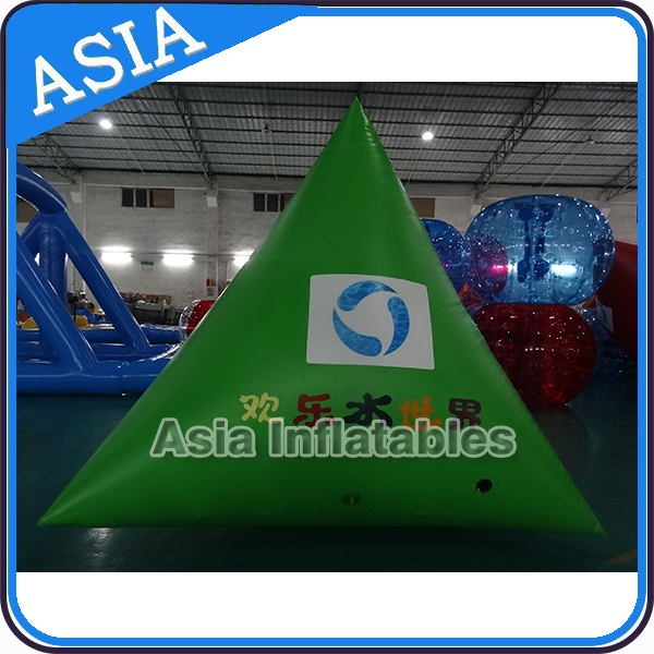 Green Customized Size Inflatable Air Buoys In Cylinder Shape for Open Water Advertisting