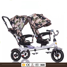 High quality baby 2 seats twin tricycle new models , Aluminum Alloy Frame Baby Tricycle Ce Customized Baby Twins Tricycle
