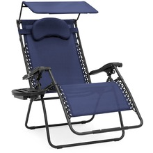 Outdoor Foldable Reclining Sun Lounger with Canopy