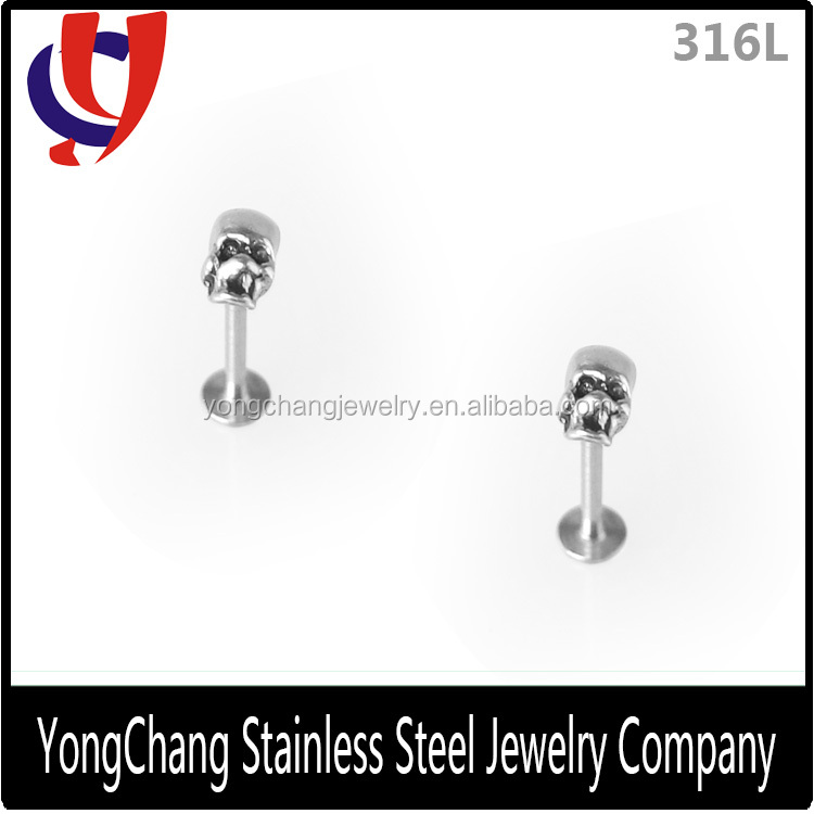 Hot New Fashion Design 316L stainless steel labret skeleton solid lip ring for labret decorated