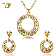 Alibaba High Polished IP Gold Plating Stainless Steel Indian Wedding Jewelry Set