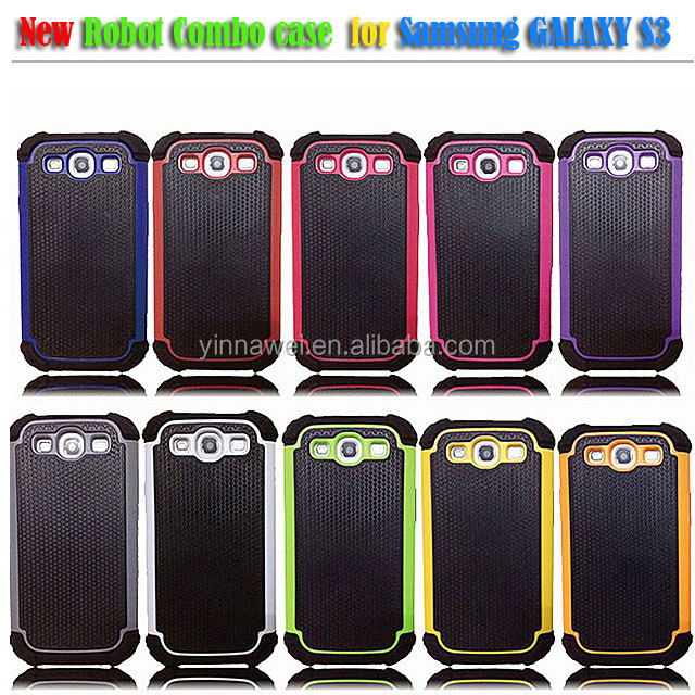 for SAMSUNG GALAXY S3 SIII BLACK TRIPLE IMPACT HARD CASE COVER SKIN