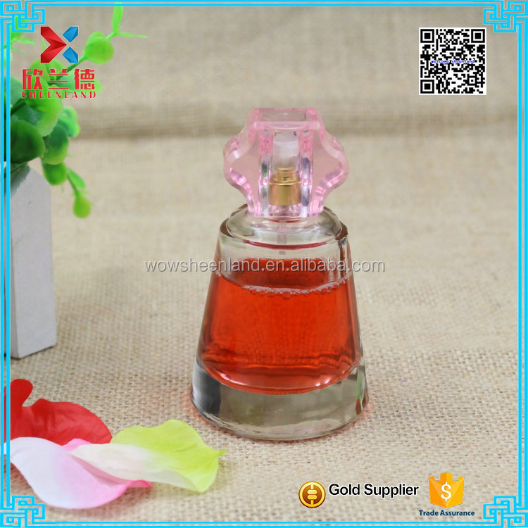 high end 57ml unique shaped crystal bottle perfume with pump