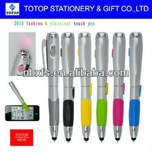 fashion & classical 2 in 1 touch pen with light touch sensitive pen