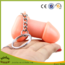 funny design plastic penis shape keychain, custom make toy penis keychain