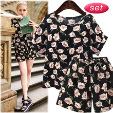 ZH0533F 2017 Fashion women printing casual suit short sleeve T-shirt and shorts