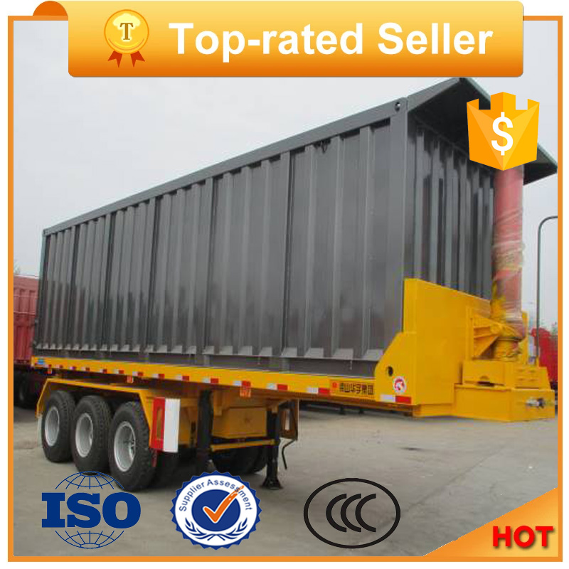 Tri-Axle U-Shape Van Type Hydraulic Rear Dump Semi Truck Trailer