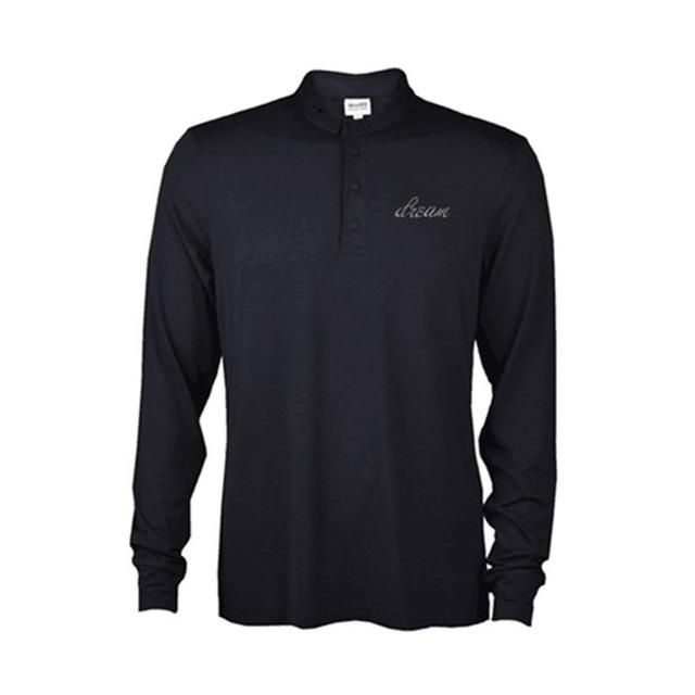 wholesale hip hop designer cotton long sleeve bulk plain black white polo t shirt