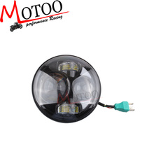 "motoo - Headlight 5-3/4"" 5.75 Inch Motorcycle Projector High / Low HID LED Front Driving Headlamp Head Ligh For Harley"