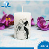 White and black Art pillar paraffin candle wedding home deco wax candle
