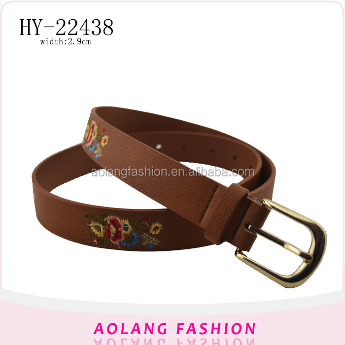 Fashion customized alloy buckle pu polyester women embroidered belt